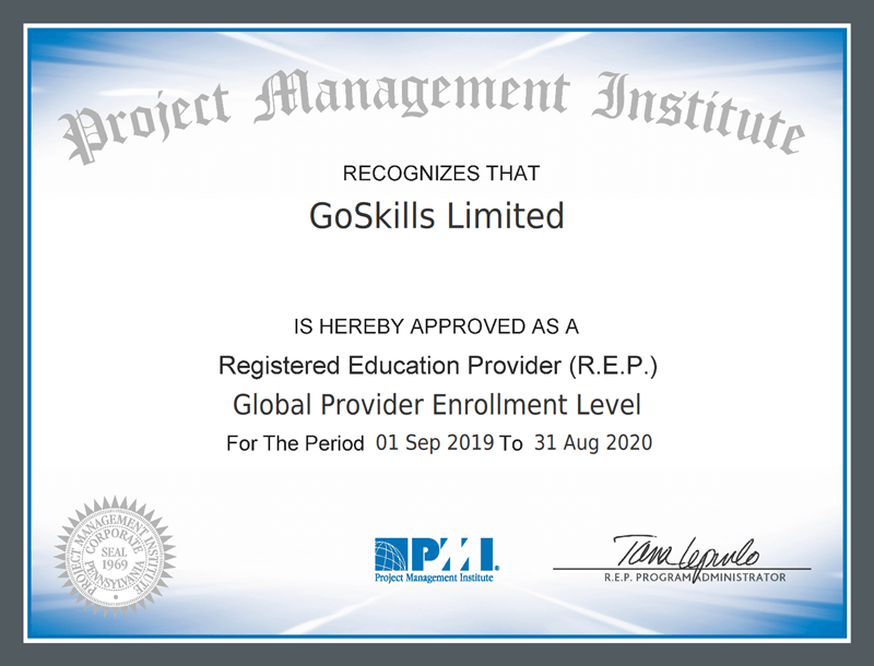 PMI recognizes that GoSkills Limited is hereby approved as a Registered Education Provider.