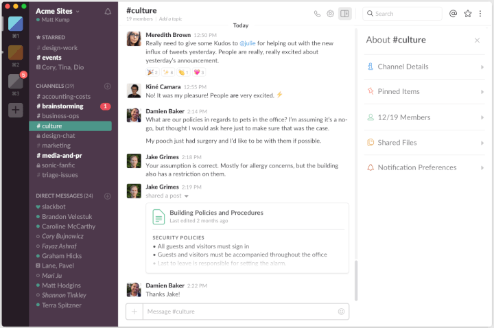 best project management tools slack