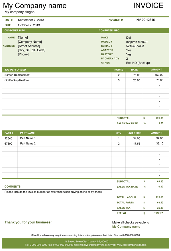Computer repair invoice template
