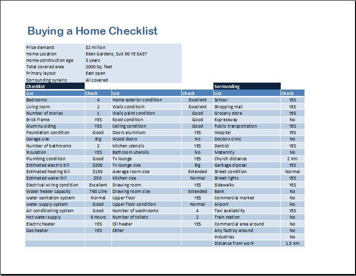 Home buying checklist template