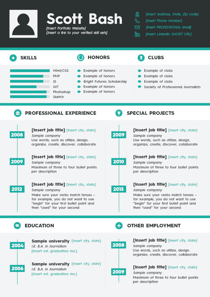 Free PSD Resume Templates 2