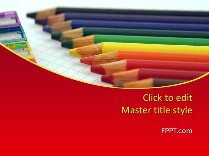 Colored pencils PowerPoint template