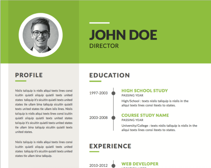 Lime green resume template