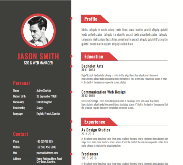 Red accent resume template