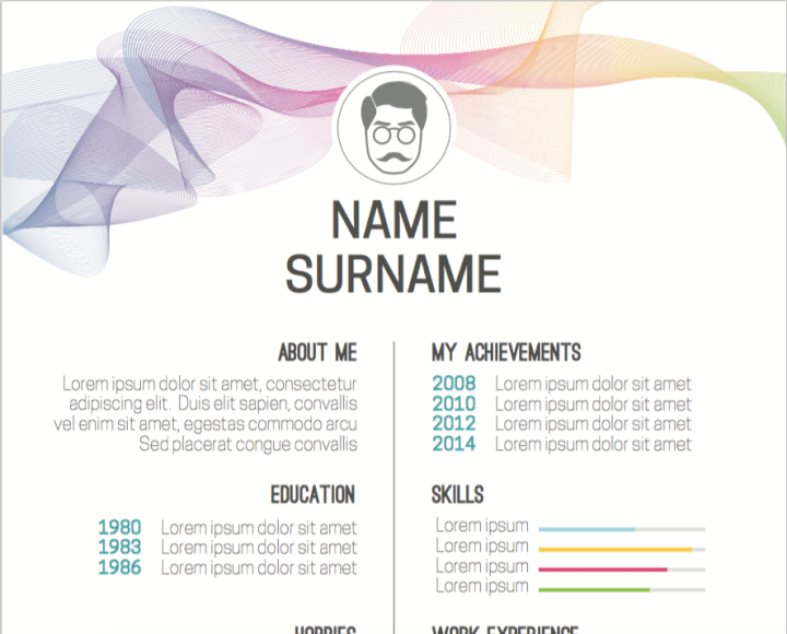 Colored waves resume template