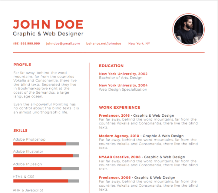 30 best free illustrator resume templates in 2018
