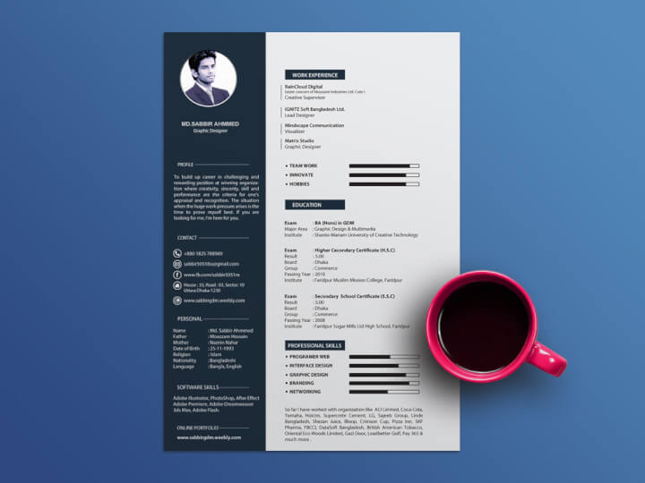 Dark Blue Resume Template