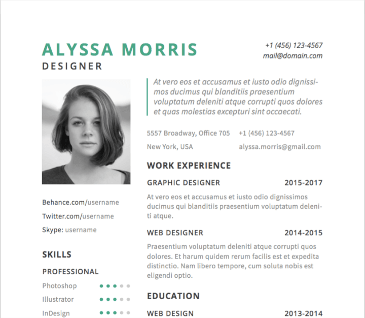 30 best free illustrator resume templates in 2020