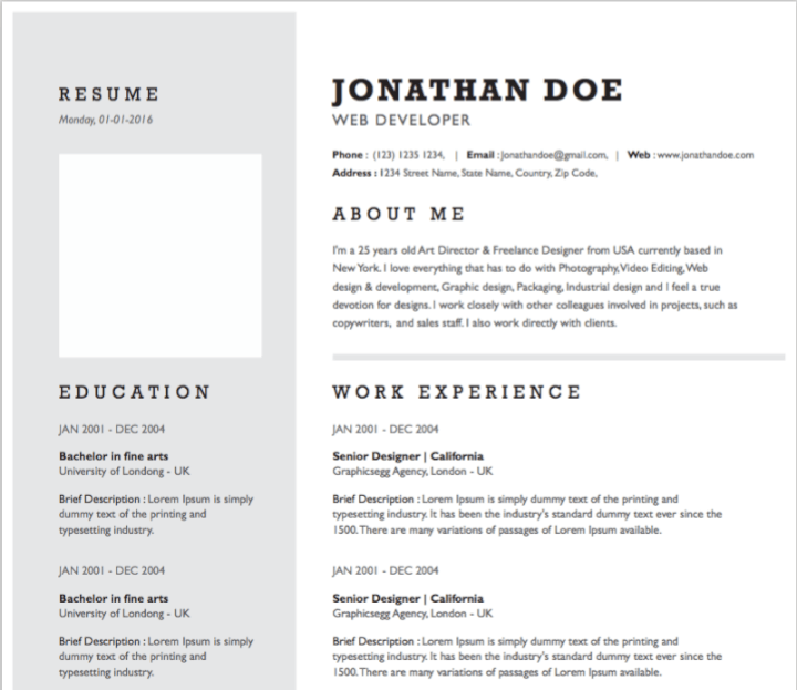 Monochromatic resume template