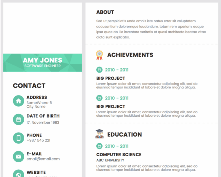 Green accent resume template