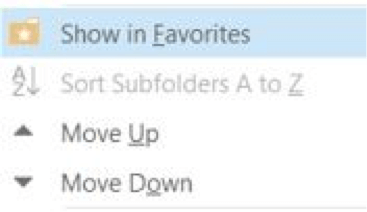 Outlook-show-in-favorites