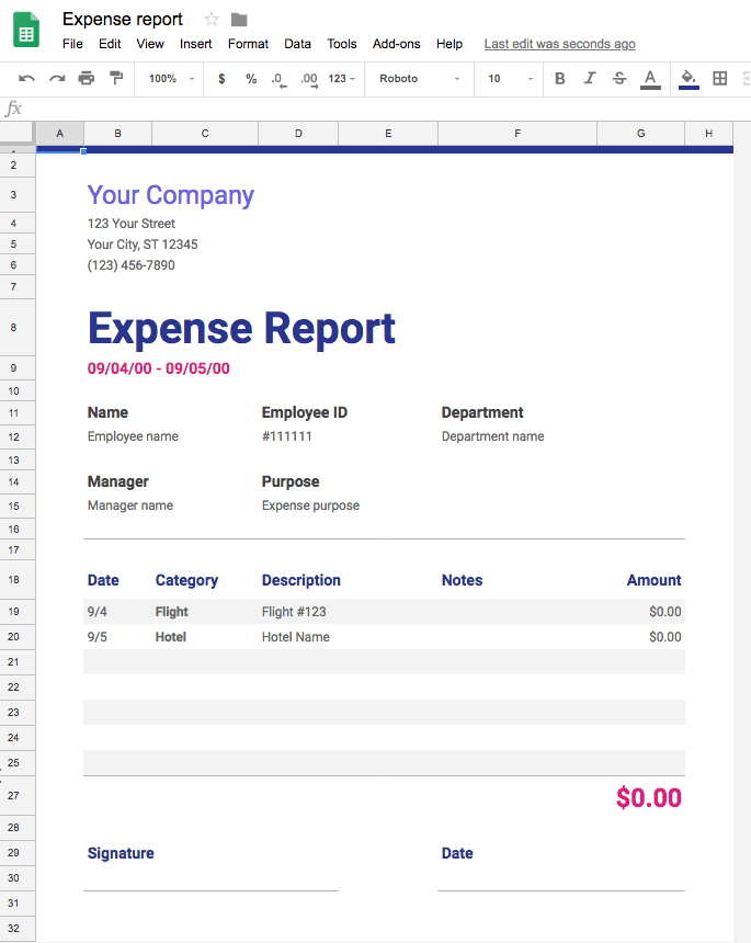 Project-management-template-Google-Sheets-expense-report