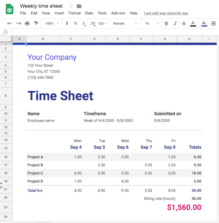 Project-management-template-Google-Sheets-weekly-timesheet