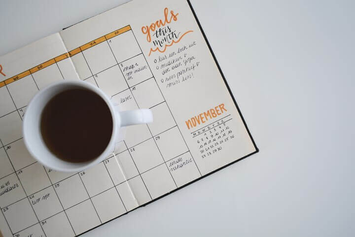 Coffee cup on a calendar