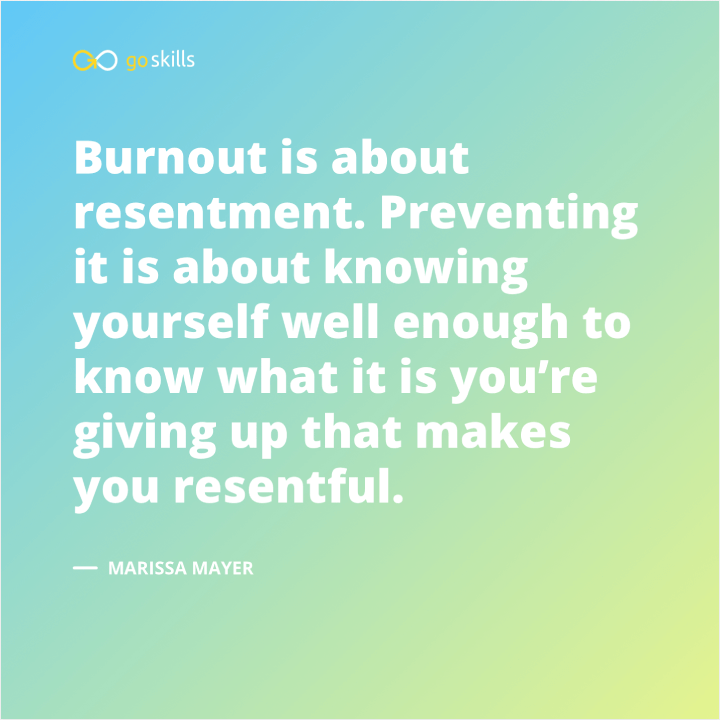 Burnout is about resentment. Preventing it is about knowing yourself well enough to know what it is you're giving up that makes you resentful.