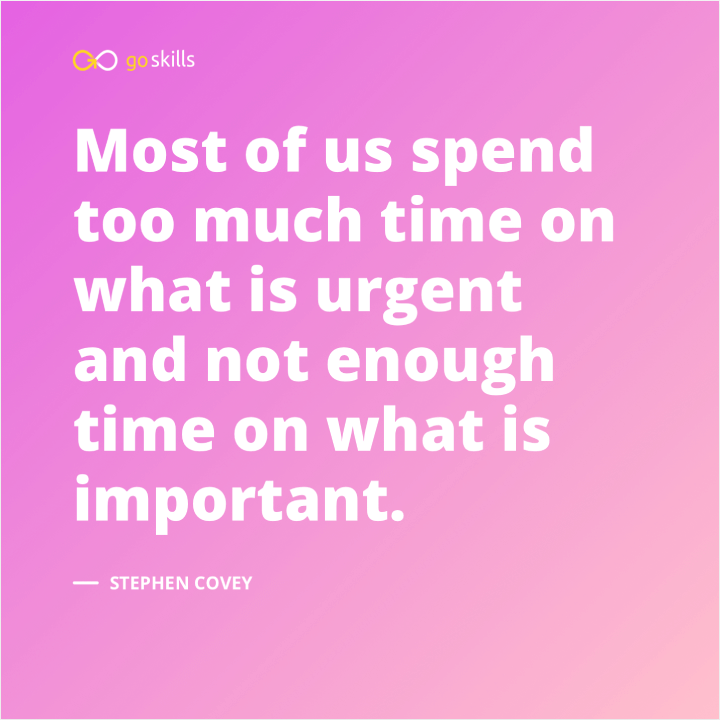 Most of us spend too much time on what is urgent and not enough time on what is important.