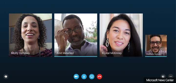 group of coworkers on skype call