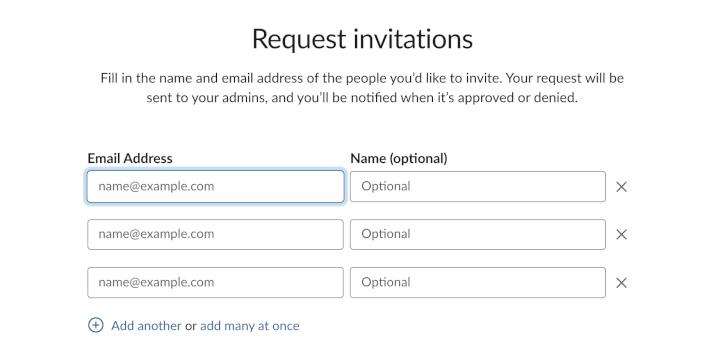 slack request invitations