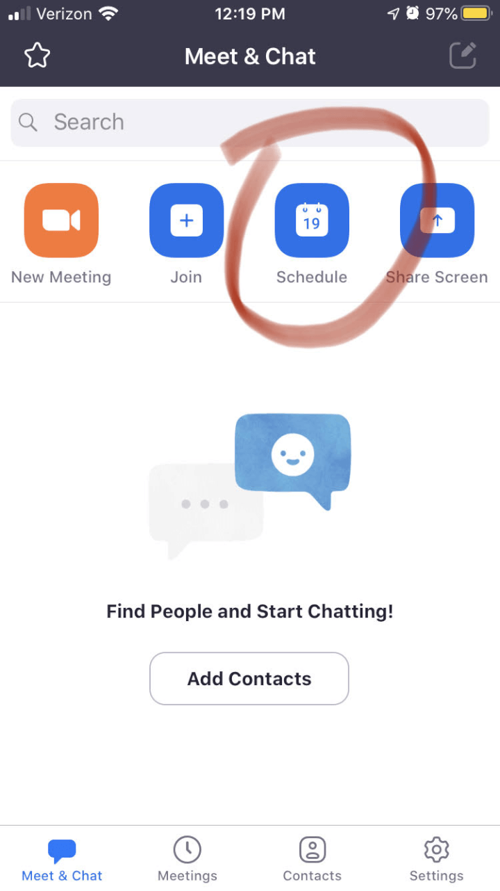 scheduling a zoom call on iOS or Android