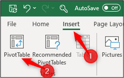 insert pivot table