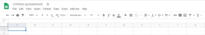 google sheets toolbar
