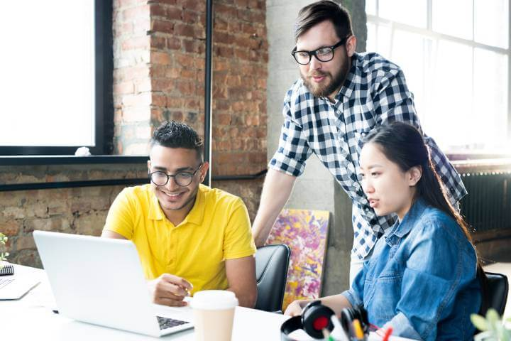 employees upskilling on laptop