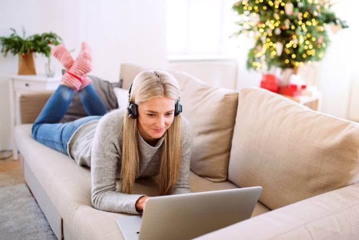 woman taking an online course from her home