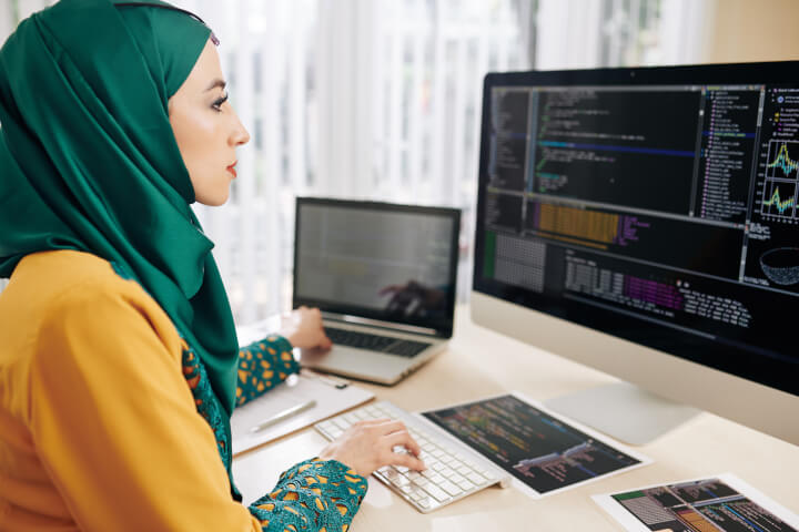 woman learning cyber security skills