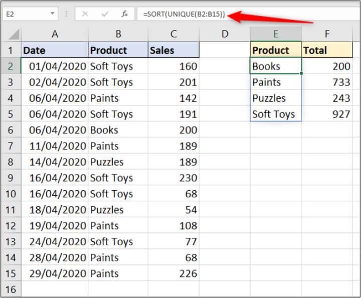 Excel SORT formula
