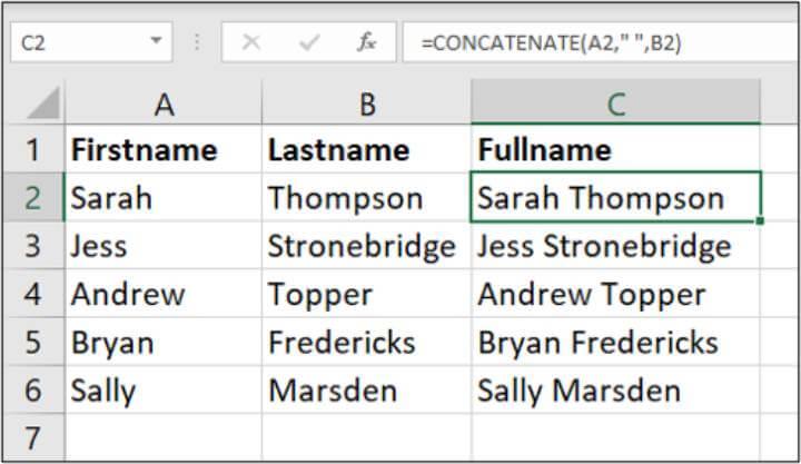 Excel CONCATENATE formula