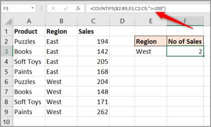 Excel COUNTIFS formula