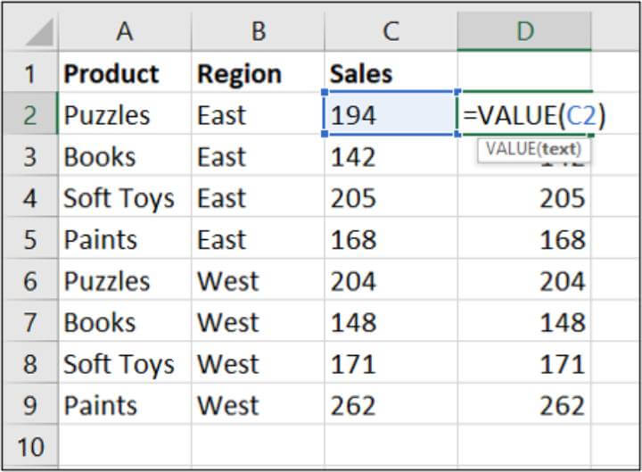 Excel VALUE formula