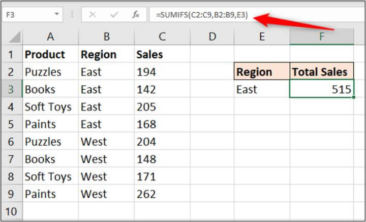 Excel SUMIFS formula