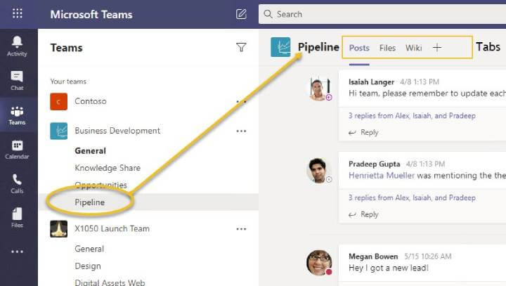 Microsoft Teams - Channels selected with tabs called out