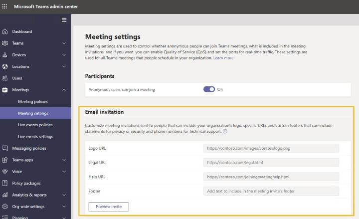 Microsoft Teams - Customize meeting invite