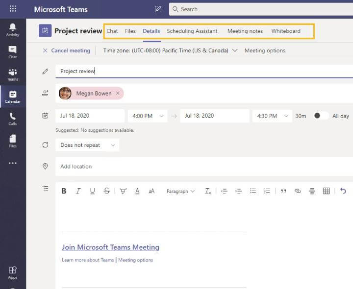 Microsoft Teams - Options after meeting is created