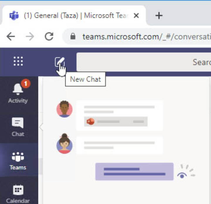 Microsoft Teams - new chat