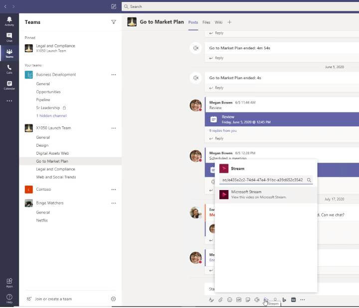 Microsoft Teams - Share video to channel>