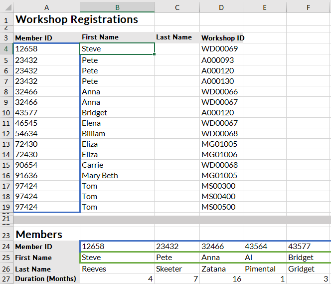 hlookup rows