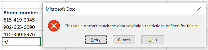 data validation error