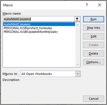 VBA Code Library - Macros Window