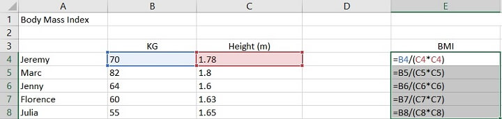 Relative reference Excel - BMI example