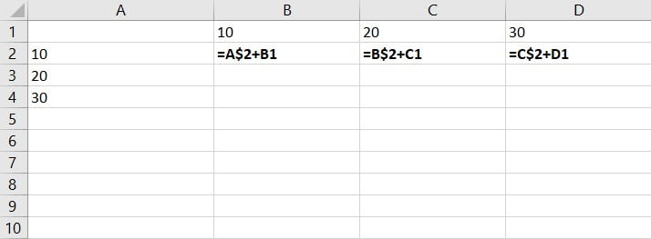 Mixed reference Excel - row constant