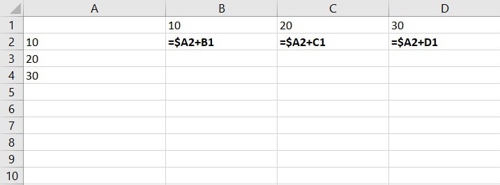 Mixed reference Excel - column constant