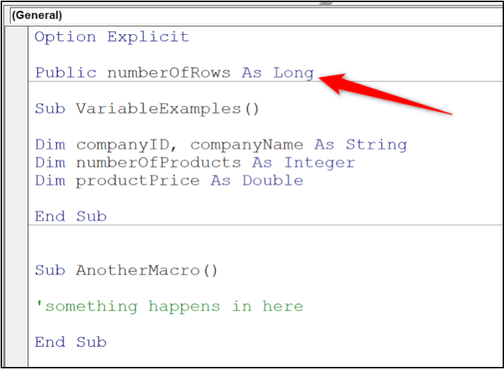 VBA variable types - project scope