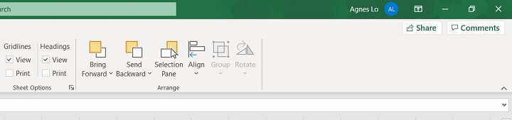 Excel ribbon - page layout