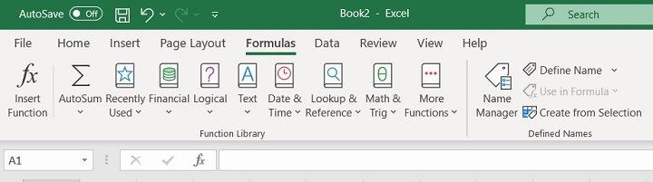 Excel ribbon - formulas