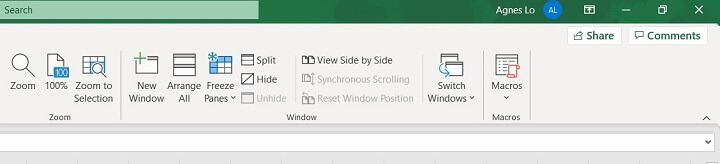 Excel ribbon - view