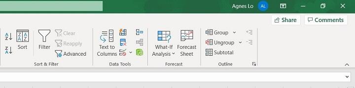 Excel ribbon - data
