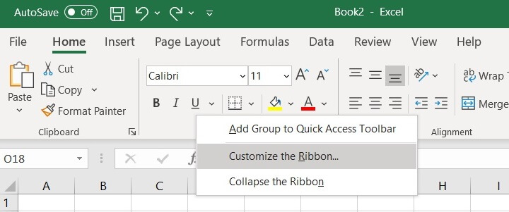 The Excel ribbon - Customize the Ribbon